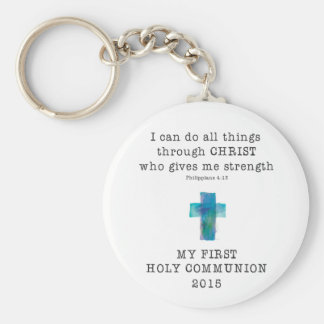 First Communion I Can Do All Things Keychain