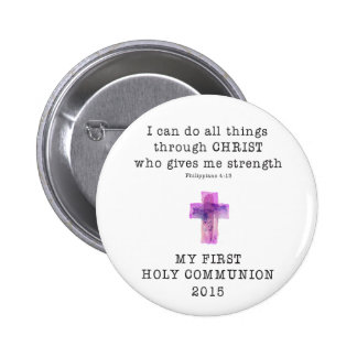 First Communion I Can Do All Things Pink Compact.p Button
