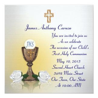 """First Communion invitation 5.25"""" Square Invitation Card"""
