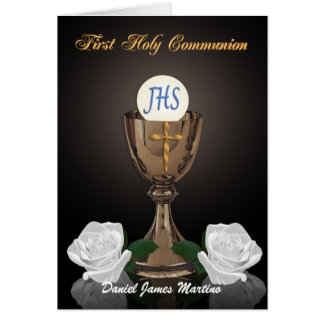 First communion invitation Chalice on black