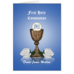 First communion invitation Chalice on blue Cards
