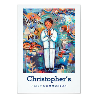 First Communion Invitation, Customizable for Boy Card