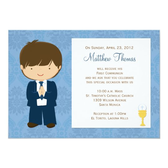 First Communion Invitation for Boy