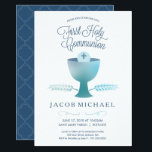 """First Communion Invite - Boy&#39;s 1st Holy Communion<br><div class=""""desc"""">This modern and elegant First Holy Communion Invitation features a chalice, wheat, and host - symbols of the Eucharist. The words &quot;First Holy Communion&quot; are written in an elegant blue font. The text and background color can be customized to your liking. A perfect way to invite guests to your son&#39;s...</div>"""
