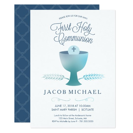 First Communion Invite Boys 1st Holy Communion Zazzlecom