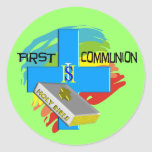 First Communion Kids T-Shirts & Gifts Round Stickers