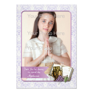 First Communion, Purple Damask Photo Card