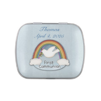 First Communion Rainbow and Dove Jelly Belly Candy Tins