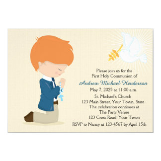 First Communion, Red Haired Boy Card