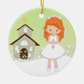 First Communion, Red Haired Girl, Church Ceramic Ornament