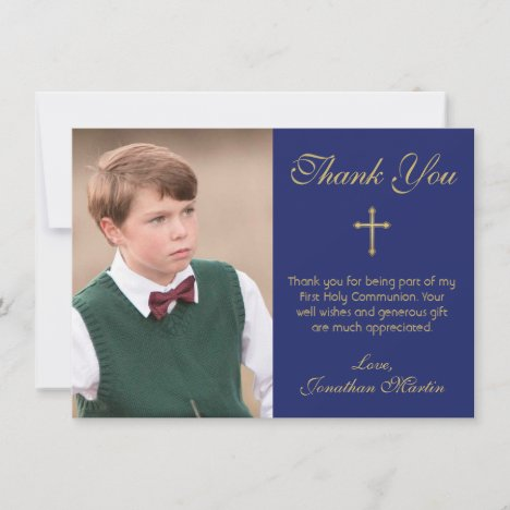 First Communion Simple Gold Cross Blue Photo Thank You Card