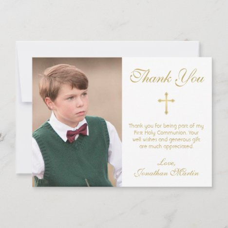 First Communion Simple Gold Cross White Photo Thank You Card
