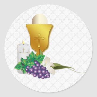 First Communion Classic Round Sticker