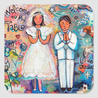First Communion Stickers, boy and girl Square Sticker