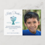 "First Communion Thank You Card , Customize, Simple<br><div class=""desc"">This modern and elegant 3.5&quot;x5&quot; First Holy Communion Photo Thank You card features a chalice, wheat, and host - symbols of the Eucharist. The words &quot;Many Thanks&quot; are written in an elegant blue font. The text, photo, and background color (on the back) can be customized to your liking. A perfect...</div>"