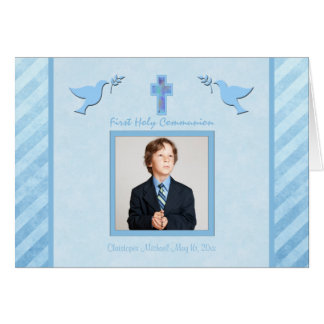 First Communion Thank You Card for a Boy Greeting Cards