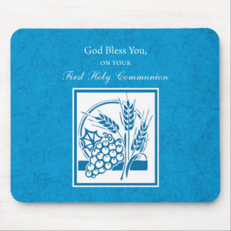 First Communion, Wheat, Grapes Blue Mouse Pad