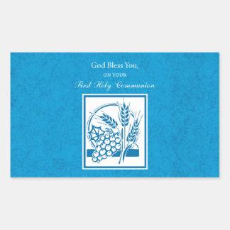 First Communion, Wheat, Grapes Blue Rectangular Sticker