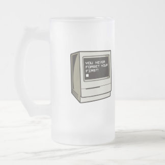 First Computer Retro 16 Oz Frosted Glass Beer Mug