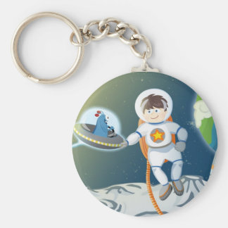 First contact basic round button keychain