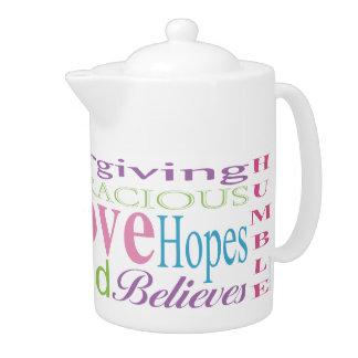 First Corinthians Love Words Teapots