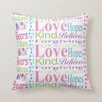 First Corinthians Pastel Love Typography Pillow
