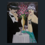 """FIRST DATE, ART DECO POSTER<br><div class=""""desc"""">Original acrylic art deco couple painting... ... ..A couple on a first date, intriguing and mysterious. The setting is a romantic table with a large vase of roses, low lights and a table tucked away from the crowded atmosphere tells a story. A great painting that can be a great conversation...</div>"""