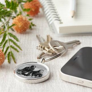 First Date Black & White Premium Round Keychain