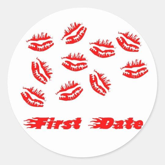 First date classic round sticker