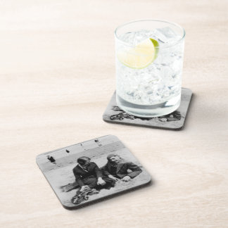 First Date Old Black & White Hard Plastic Coasters