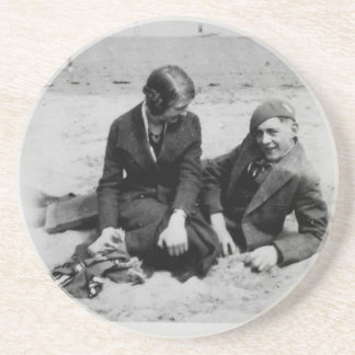 First Date Vintage Black & White Sandstone Coaster