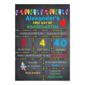 First Day Kindergarten card BOY,Chalkboard