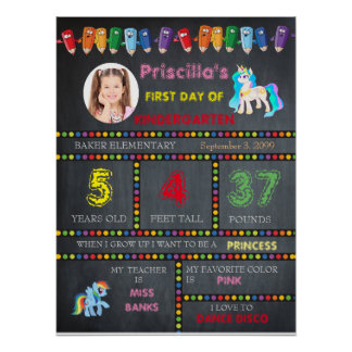 First Day Kindergarten girl,chalkboard sign photo Poster