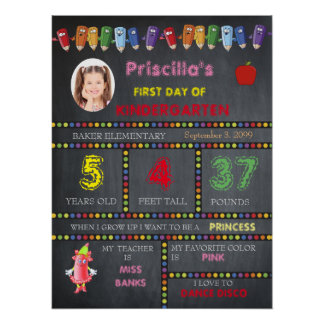 First Day Kindergarten girl,chalkboard sign,photo, Poster