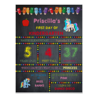 First Day Kindergarten girl,chalkboard sign Poster