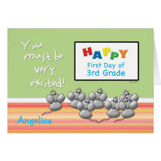 First Day of 3rd Grade Cute Mice and SMART Board Card