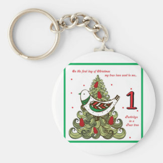 First Day of Christmas Basic Round Button Keychain