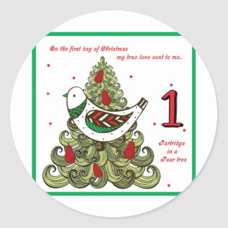 First Day of Christmas Classic Round Sticker