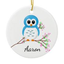 First Day of Kindergarten, Cartoon Owl on a Branch Ceramic Ornament