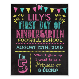First Day of Kindergarten Chalkboard Poster