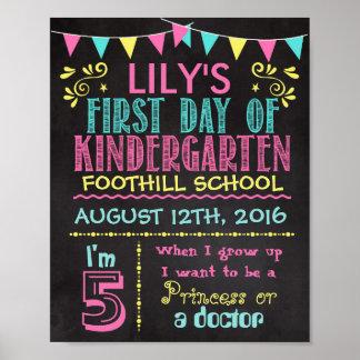 First Day of Kindergarten Chalkboard Poster