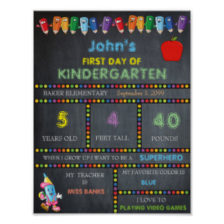First Day of Kindergarten Sign BOY, Chalkboard