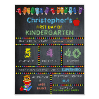 First Day of Kindergarten Sign, Chalkboard Poster