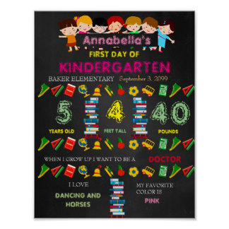 First Day of Kindergarten Sign GIRL,Black & colors Poster