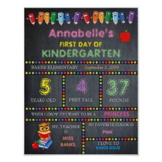 First Day of Kindergarten Sign GIRL, Chalkboard Poster