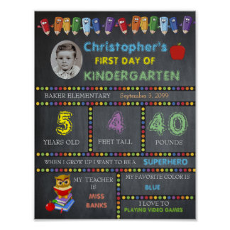 First Day of Kindergarten Sign PHOTO, Chalkboard Poster