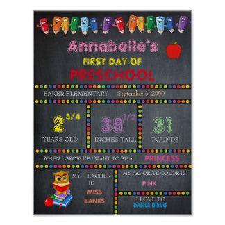 First Day of Preschool Sign GIRL, Chalkboard Poster