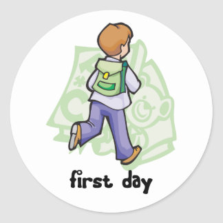 First Day Of School Round Stickers