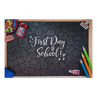 First Day School Blackboard & Stationary Poster