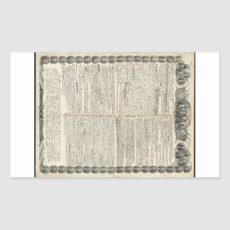 First Draft of the Declaration of Independence Rectangular Sticker